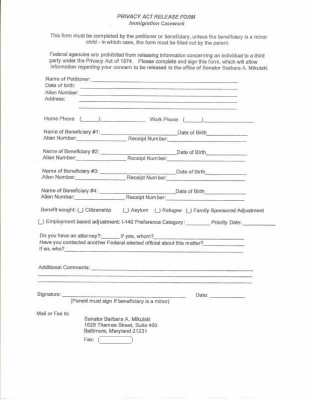 Privacy Act Release Form - Craig & Ging'S Home On The Web