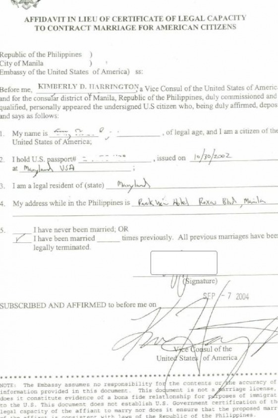 Affidavit of capacity to marry craig gings home on the web the first thing the petitioner if a us citizen and wants to get married in the philippines is to get this document first and should be in hand before yadclub Choice Image