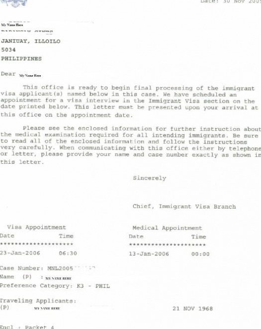 Appointment Letter For Interview  Craig  GingS Home On The Web