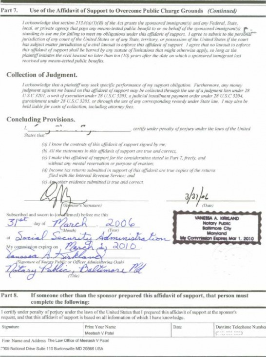 Affidavit Of Support Form I 864 Craig Gings Home On The Web