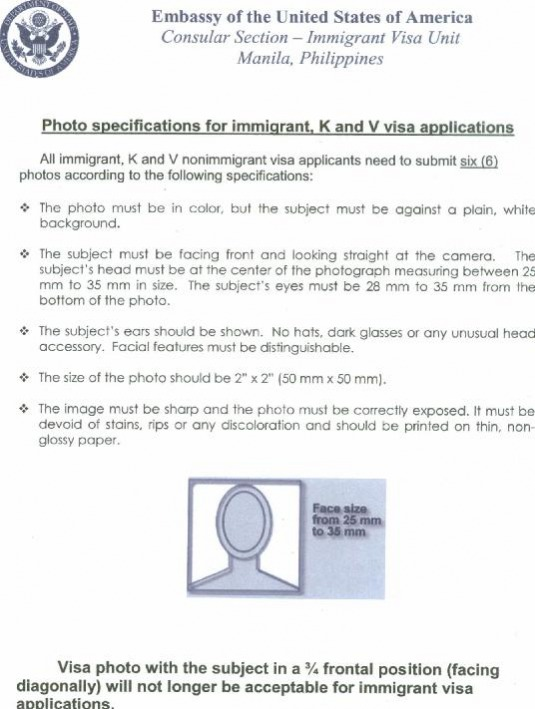 Photo Specifications for Immigrant and K Visa Applicants (1 page)
